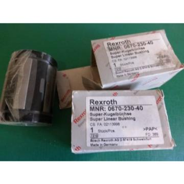 1 Lot of 2 Rexroth MNR0670-230-40 Supper Linear Bushings